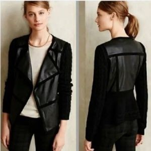 Anthropologie Elevenses faux leather moto jacket